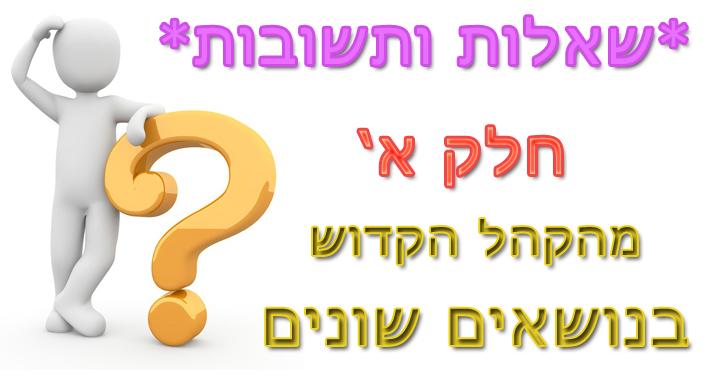 שאלות ותשובות מנושאים שונים ביהדות  - חלק א